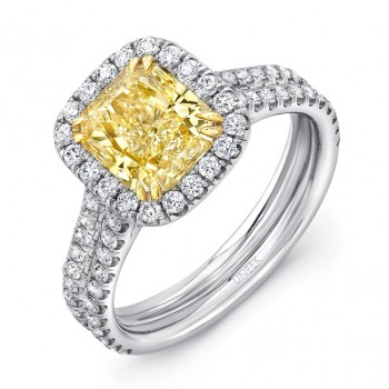 Uneek Radiant-Cut Yellow Diamond Halo Engagement Ring with Double Shank, in Platinum and 18K Yellow