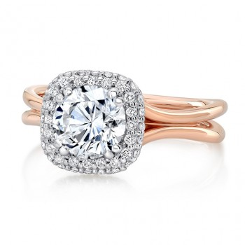 "Round Diamond Two-Tone Engagement Ring with Cushion-Shaped Bombay Halo and ""Silhouette"" Double Shank from Uneek"
