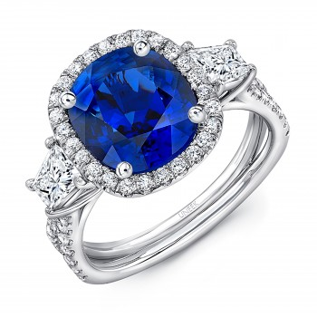 Uneek Sapphire-and-Diamond Three-Stone Engagement Ring with Cushion-Cut Center