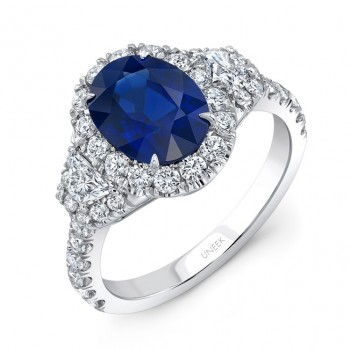 Uneek Oval Sapphire-Centered Three-Stone Engagement Ring with Trapezoid Diamond Sidestones