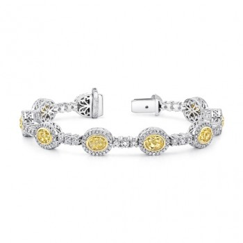Uneek Oval Yellow Diamond Bracelet with Shared-Prong Round Diamond Bar Links