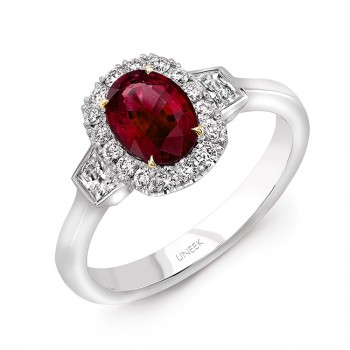 Uneek Oval Ruby and Trapezoid Diamond Three-Stone Ring,18K Gold
