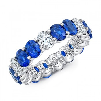 Uneek Oval Blue Sapphire and Diamond Eternity Band, 18K White Gold