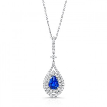 Uneek Pear-Shaped Blue Sapphire Pendant with Diamond Double Halo, 18K White Gold