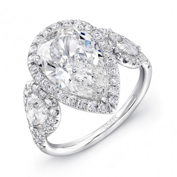 Uneek Pear-Shaped Diamond Three-Stone Ring, Platinum