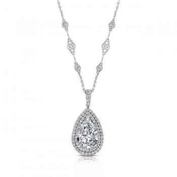 Uneek Pear-Shaped Diamond Pendant with Double Halo and Filigree and Bezel Accent Chain, Platinum