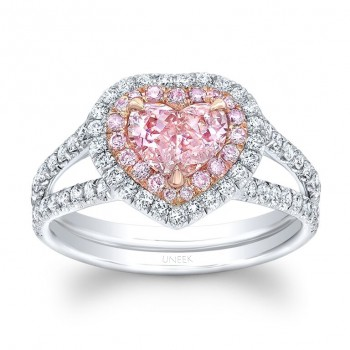 uneek heart shaped fancy orange pink diamond ring with peekaboo split upper shank and double - Pink Wedding Rings