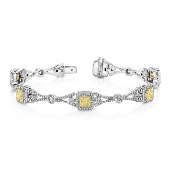 Uneek Contemporary Princess-Cut Yellow Diamond Bracelet with Geometric Motif