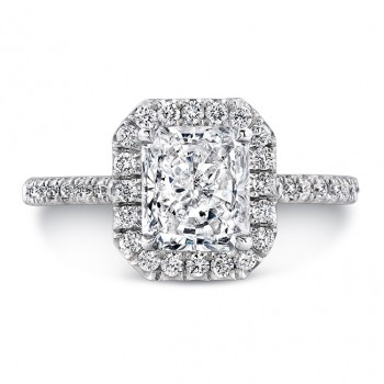 Uneek Classic Radiant-Cut Diamond Halo Pavé Engagement Ring, in 14K White Gold