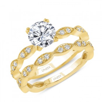 Uneek Round Diamond Bridal Set with Milgrain-Trimmed Marquise-Shaped Clusters, 14K Yellow Gold