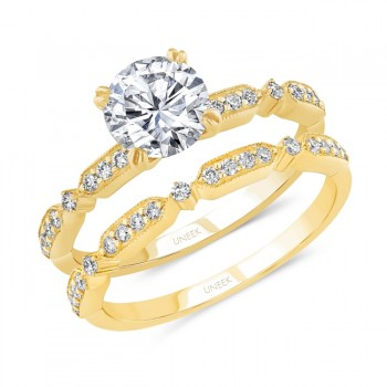 Uneek Round Diamond Bridal Set with Milgrain-Trimmed Pave Bars, Yellow Gold