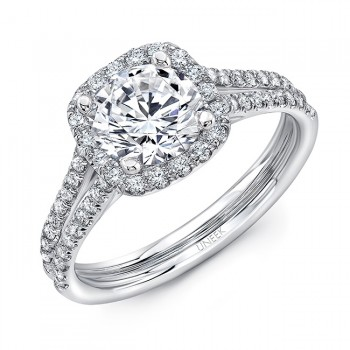 Uneek Round Diamond Engagement Ring with Cushion-Shaped Halo and Split Upper Shank, 14K White Gold