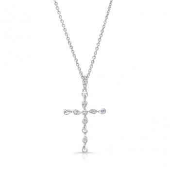 Uneek Petite Cross Pendant with 0.10 Carats of Diamonds, 14K White Gold