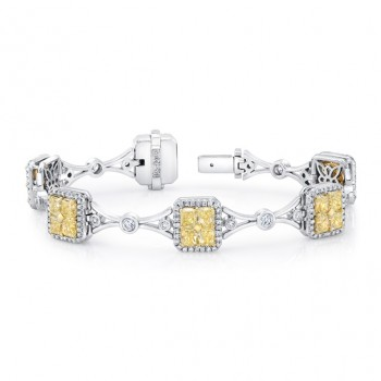 Uneek Radiant-Cut Yellow Diamond Cluster Bracelet with Geometric Motif