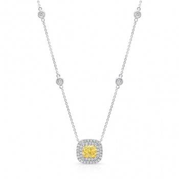Uneek Cushion-Cut Fancy Yellow Diamond Pendant with Double Diamond Halo, 18K Gold
