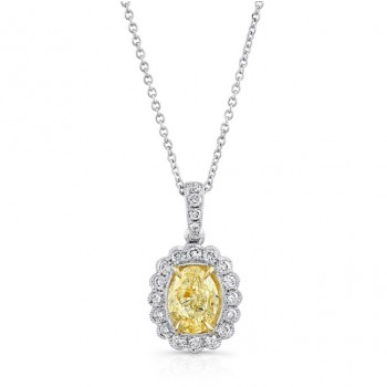 Uneek Oval Fancy Yellow Diamond Pendant with Scallop-Style Diamond Halo, 18K Gold
