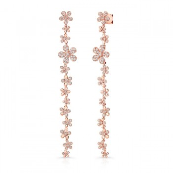 Uneek Cascade Collection Threader-Inspired Dangle Earrings with Floral Motif, 18K Rose Gold