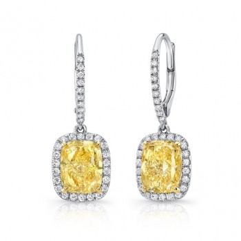 Uneek Elongated Cushion-Cut Fancy Yellow Diamond Dangle Earrings, 18K Gold