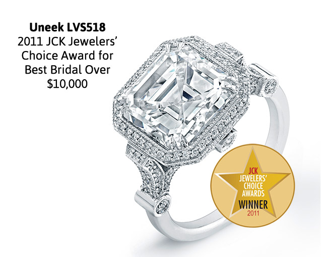 Uneek Estate-Inspired 5-Carat Asscher Diamond Engagement Ring, in Platinum LVS518